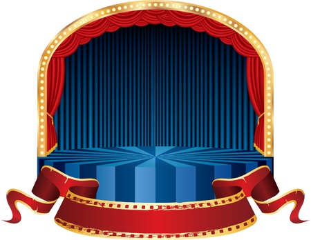 vector circle circus stage with blue curtain and red cinema banner Vector