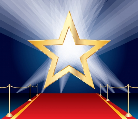 red rug: vector golden star over red carpet and spotlights Illustration