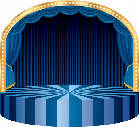 concert stage: vector circle circus or theater stage with blue curtain