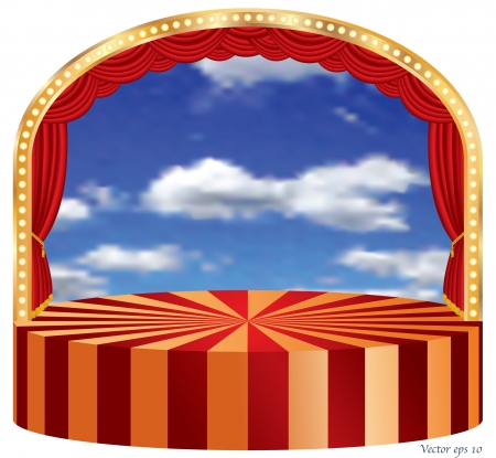 vector ellipse stage with red curtain and cloudy sky in back