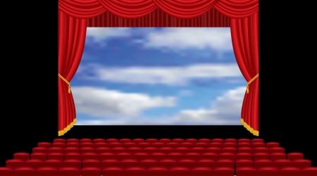 sipario chiuso: illustrazione vettoriale del cinema auditorium vuoto con cielo sullo schermo