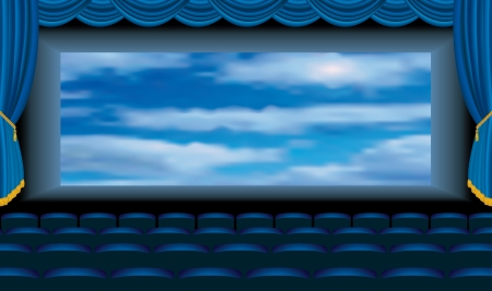 cinema screen: vector illustration of the blue cinema auditorium with sky on screen