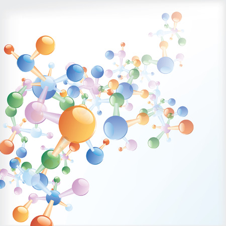 vector background with abstract color molecules Vector