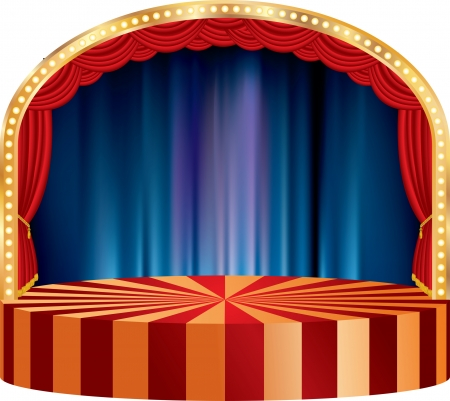 vector circle circus or theater stage with red curtain and blurry background Vector