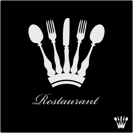 vector sign for restaurant with crown Vector