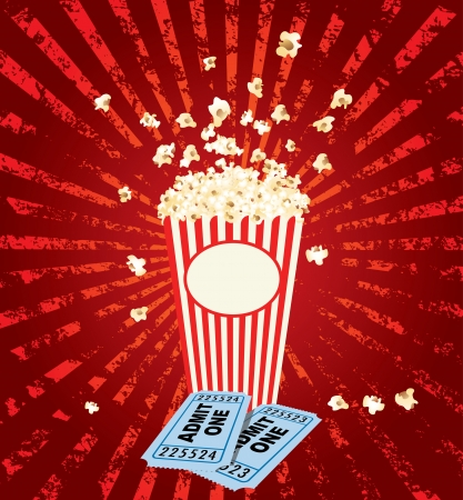 popcorn explosion with admit one tickets Vector