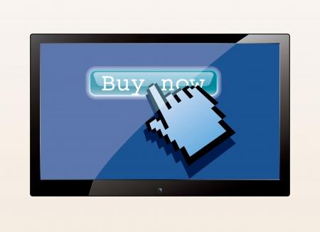 buy button: vector hand cursor push buy button on tv screen