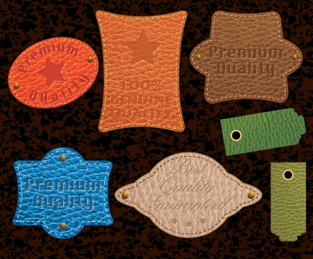 leather label: set of seven vector color leather labels
