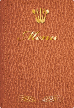 vector brown leather cover of menu Vector