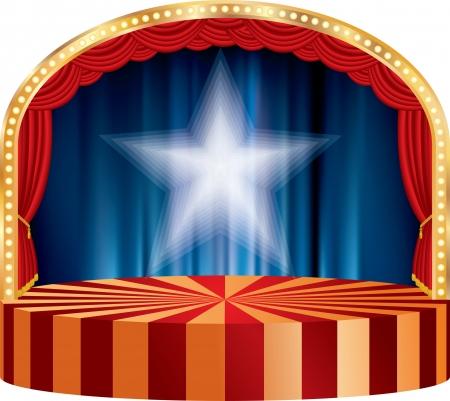 赤いカーテンと白い星ベクトル サークル サーカスや劇場ステージ