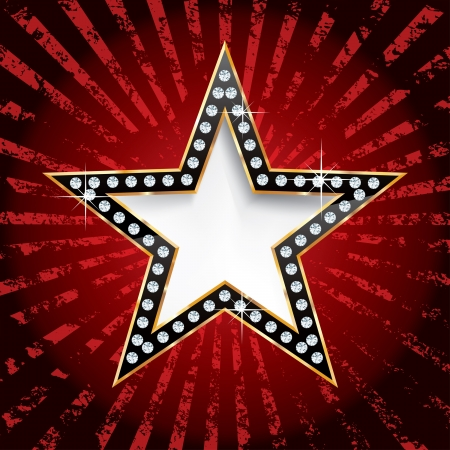 vegas strip: black golden star on grunge red rays
