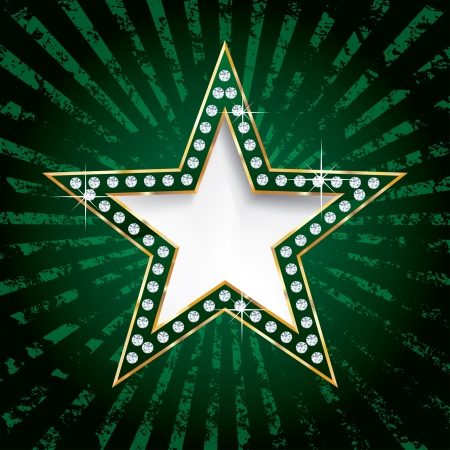 las vegas strip: vector golden green star on grunge burst Illustration