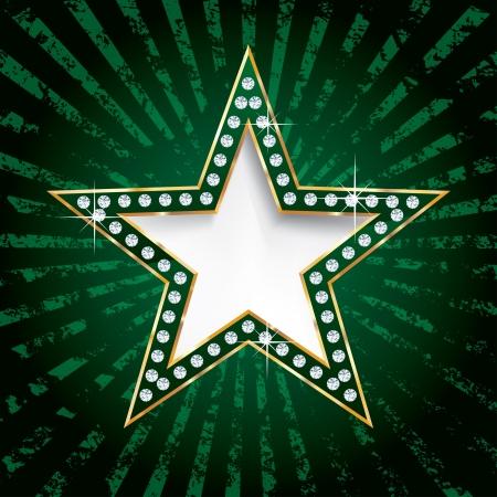 vegas strip: vector golden green star on grunge burst Illustration