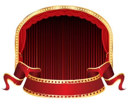 elipse: vector perforated red blank banner on elipse stage with red curtain Illustration