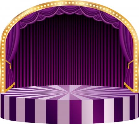 curtain design: palco del circo vettore ellisse con tenda viola Vettoriali