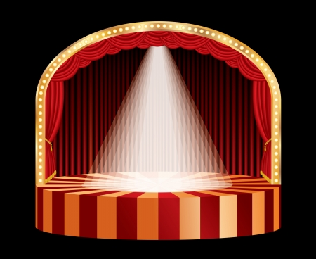 vector spotlight on red circle stage Vector