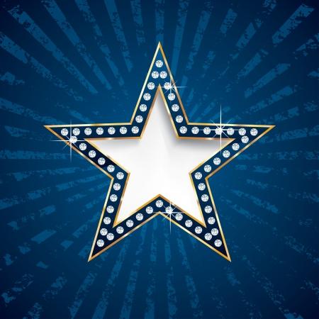 film star: vector diamond star on blue grunge burst Illustration