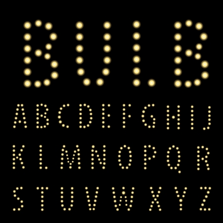 textual: vector  alphabet with bulb lamps