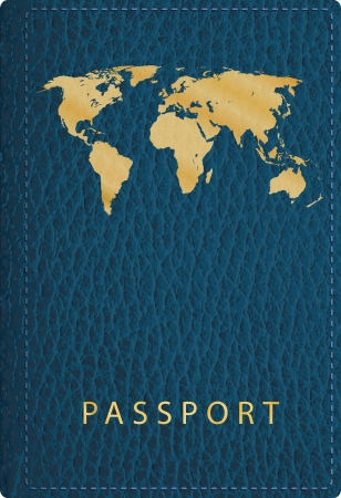 vector blue leather passport cover Vector