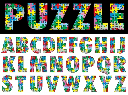 vector colorful puzzle alphabet Vector