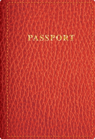 passport background: vector red leather passport cover