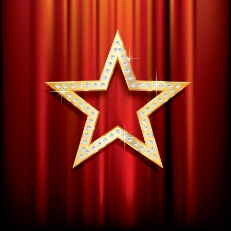 stern: goldenen Stern mit Diamanten auf rotem Samt