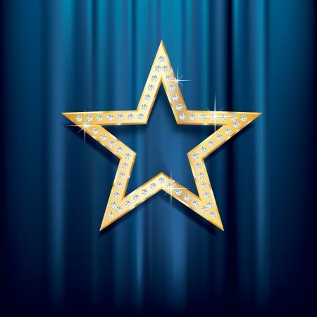 terciopelo azul: estrella de oro con diamantes sobre terciopelo azul Vectores