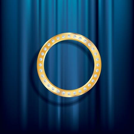 terciopelo azul: vector de fondo abstracto, anillo de oro con diamantes sobre terciopelo azul