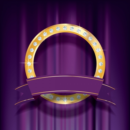 vector golden ring with diamonds on purple velvet Vector