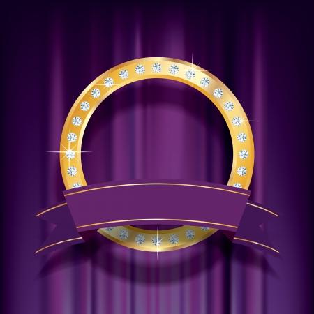 vector golden ring with diamonds on purple velvet