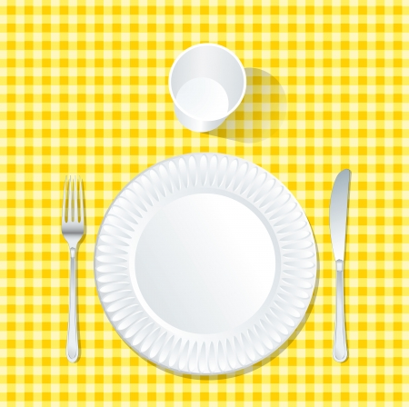 vector paper plate on yellow tablecloth