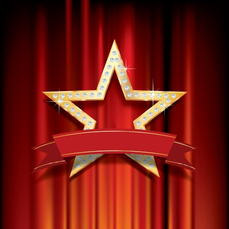 vector golden star with blank banner on red curtain Vector