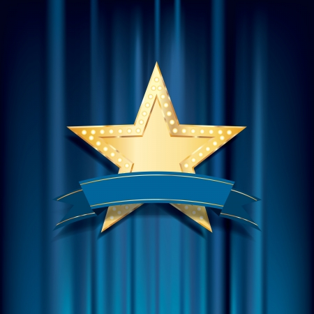 vegas strip: vector golden star with bulb lamps and blue blank banner Illustration