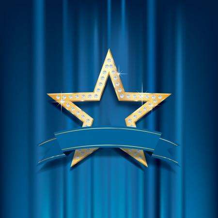 ベクトル ゴールデン スター ダイヤモンドと青いカーテンで白紙の横断幕