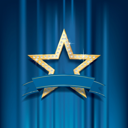 vector golden star with diamonds and blank banner on blue curtain