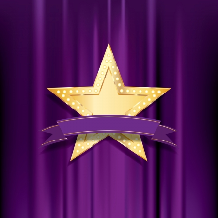 vegas strip: golden star with bulb lamps and blank purple banner Illustration