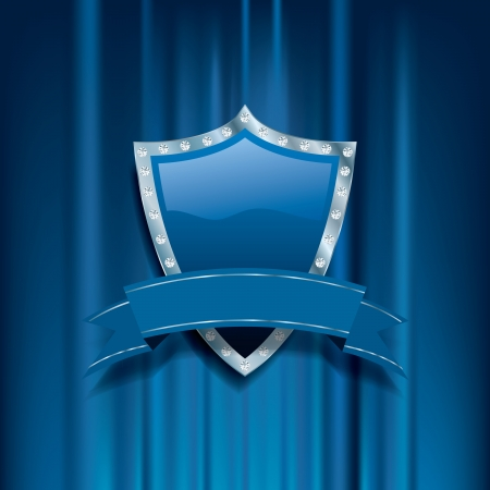 blue vector background with shield, diamonds and blank banner Vector