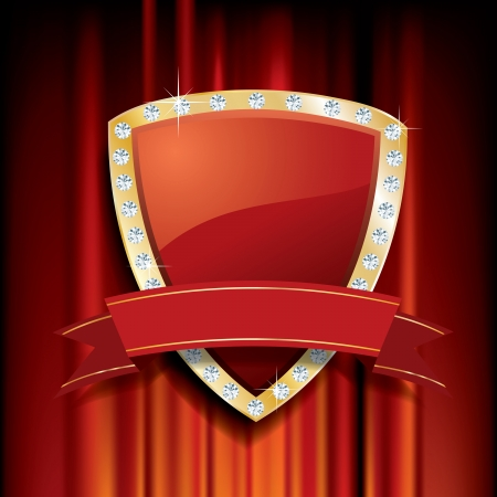 golden red shield with diamonds and blank banner Vector