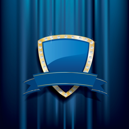 golden blue shield with diamonds and blank banner Vector