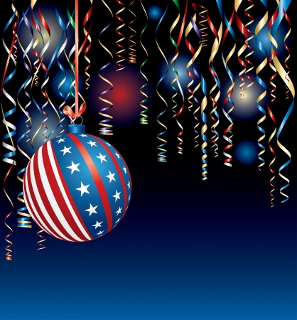 vector illustration with USA Christmas ball  Vector