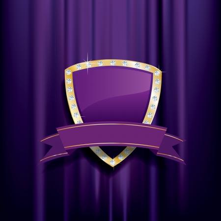 紫ゴールデンシールド ダイヤモンドと白紙の横断幕