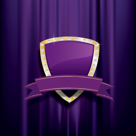golden purple shield with diamonds and blank banner Vector