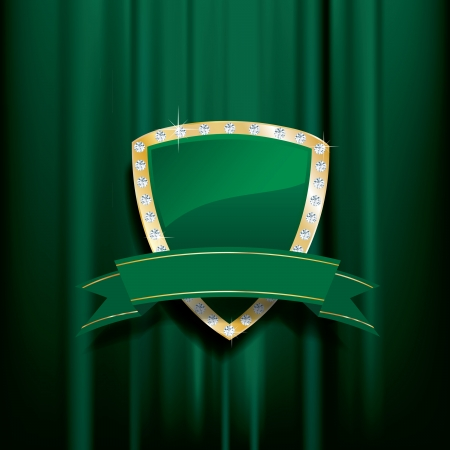 golden green shield with diamonds and blank banner Vector