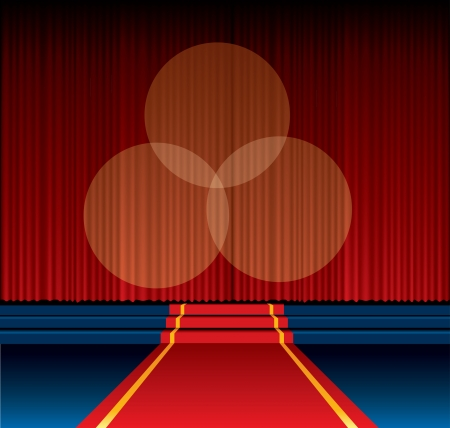 vector background with red carpet way to stage
