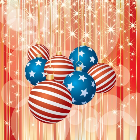 vector abstract Christmas background with USA balls Vector