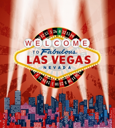 vegas sign: vector Las Vegas sign with roulette over the city and red grunge sky