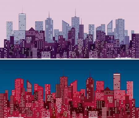 city skylines in  purple and red versions