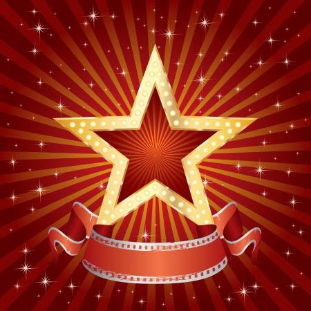 vedette de cin�ma: vecteur blanc star de cin�ma d'or en rouge la nuit en rafale Illustration