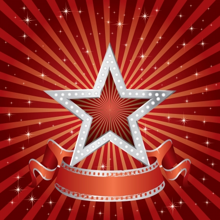 vector silver star on the red starry burst Stock Vector - 24507912