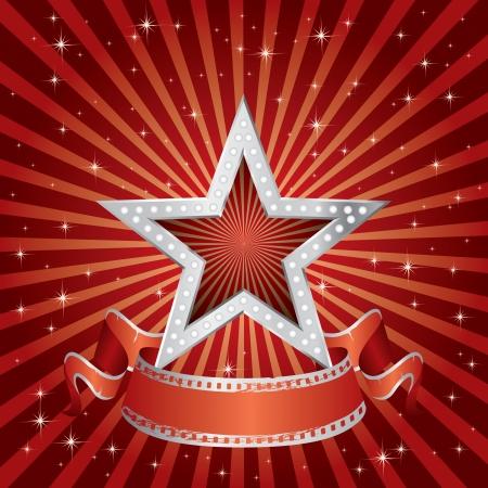 vegas strip: vector silver star on the red starry burst Illustration